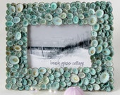 Shell Frame Beach Decor Aqua Limpet  - Nautical Decor Seashell Frame of Aqua Limpets, 5x7
