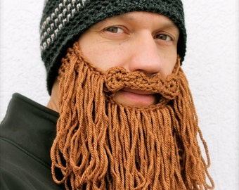 long beard hat The Original Beard Beanie™ -shaggy- dark gray striped with brown