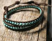 ocean : leather beaded wrap cuff bracelet