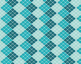 """Fabric, Cotton Quilt,  by the half yard or yard,or fat quarter  Riley Blake Designs, """"Indie Chic"""" Checkers, blue, teal diamond design, RB13"""