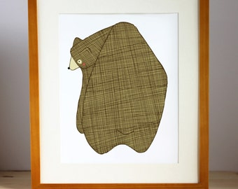 Brown Bear Print, Brown Bear Nursery Art, Bear Children's Decor, Bear Illustration, Bear Kid's Art, Boy Room Decor, Forest Decor