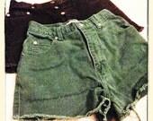 High waist Denim cutoff shorts - green
