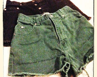 High waist Denim cutoff shorts - green