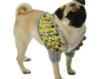 Dog Sweater Shrug Sizes XXS to Large in Yellow and Gray Hand Dyed Yarn