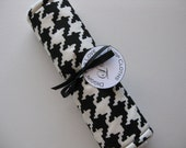 """Baby Burp Cloth Single """"Diggin' for Love"""" Houndstooth Gender Neutral Boy Girl Black and White"""