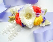 White Red Yellow Blue Bridal Flower Sash, Weddings Accessory, Bridal Satin Sash, Maternity Belt, Bridesmaids Comb, Photo Prop, Headpiece