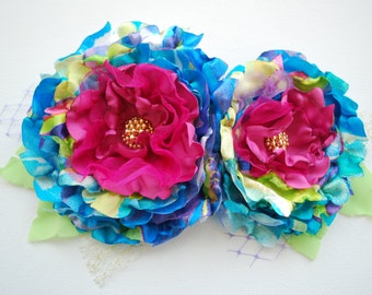 fuchsia blue roses, colorful satin flowers, weddings accessories, bridal hair clip, prom corsage, bridesmaids, flower girls, photo prop