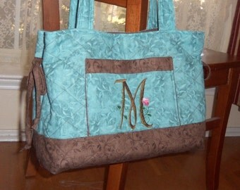 Personalized Quilted Tote Bag Handbag Monogrammed with Elegant Floral Font in Aqua and Brown