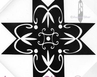 8 pointed star decal Wabanaki Mi'kmaq style