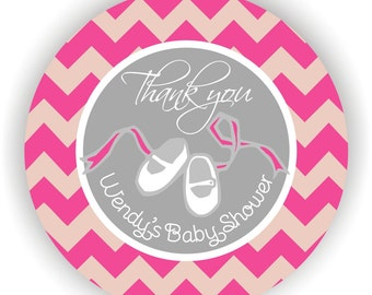 Baby Shower Stickers- Personalized Labels - 40 labels - 2inch circle - Thank You Labels - It's a Girl Labels - Chevron Theme Baby Shower