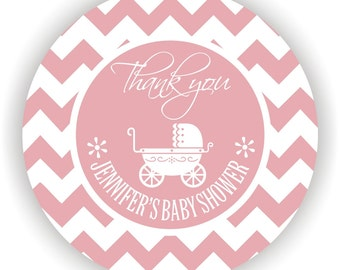 Baby Carriage Theme Baby Shower Labels- Personalized Labels - 60 labels - 2inch circle - Thank You Labels - It's a Girl Labels