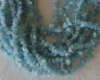 Aquamarine Chips In A 32 Inch Length