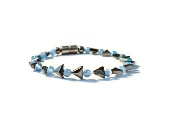 Blue Agate & Black Rectangle Magnetic Hematite Therapy Bracelet, Arthritis Jewelry, Natural Pain Relief