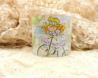upcycle tin cuff bracelet vintage wide rustic bike girl image graphics bike bicycle repurposed old metal