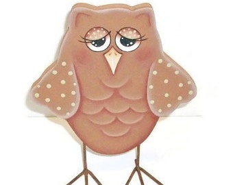Hand Painted Owl | Standing Wooden Owl Figure