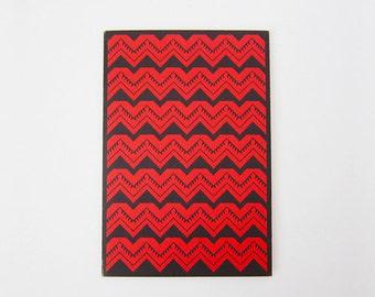 Red Tribal Geometry Print Greeting Card