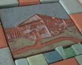 Fort Meigs Blockhouse tile with mixed media assemblage on wood