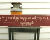As for Me and My House We Will Serve The Lord Personalized Family Name Wood Sign - 10x48 Wedding Carved Engraved Handpainted Wooden Sign