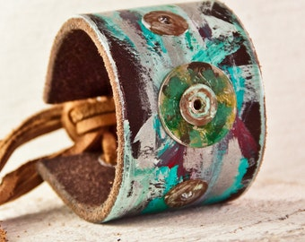 Leather Cuff Bracelet Turquoise Jewelry - Etsy Love Wrist Cuff Bracelets - Lovely Women's Fashion