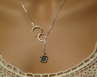 Infinity Lariat Charm Necklace with Flower, Sterling Silver, Gifts  Bridesmaids, grandmotherariat