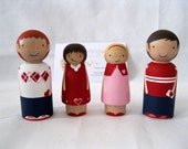 Will you be my Valentine Wood Peg Doll Playset READY TO SHIP