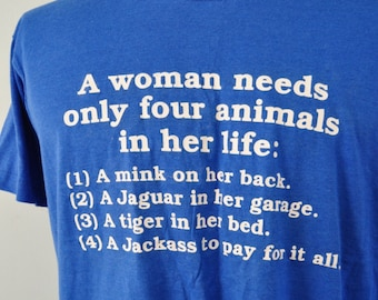 Near Burnout Super Soft n Thin Royal Blue 80s Humor Animals Women Need Funny Tshirt Simple vtg Classic XL