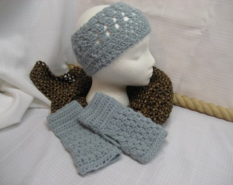Handmade Crocheted Headband Earwarmers with Fingerless Gloves SET in blue