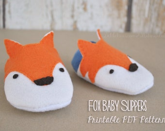 Felt Fox Baby Shoes Pattern, Printable Baby Sewing Pattern With Illustrations Sizes 3 - 12 Months