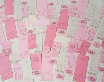 100 Pieces Baby Shower Wish and Favor Tags Its a Girl Pink Baby Tags