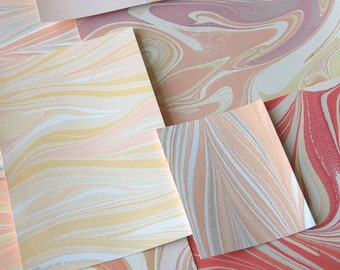 Marbled Paper Remnants - Assortment of Warm Shades