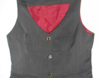 Steampunk  Lady's Fitted Deepest Charcoal Waistcoat with Red Lining UK10