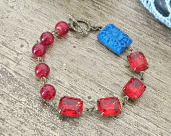 SALE Red And Blue Bracelet Toggle Clasp Fuego Beaded Vintage Jewel. Brass Asymmetrical Cinnabar Carved Floral. Glam It Up Botanical Gift