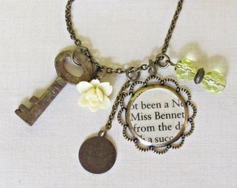 Jane Austen Charm Necklace Pride and Prejudice Elizabeth Bennet Yellow. Beaded Skeleton Key Vintage Upcycled. Literature Flower Handmade