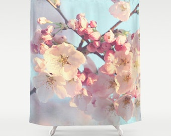 Shower Curtains cherry blossom shower curtains : Shabby chic shower curtain – Etsy UK