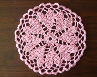 Pink Heart Doily