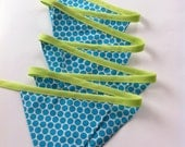 S A L E ~ aqua blue and lime green polka dot flag banner decoration / garland