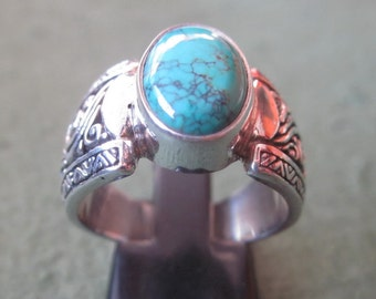 Balinese Silver 925 Turquoise Ring /  size :  8 ready to ship  / sterling silver / granulation technique  / Bali handmade jewelry.