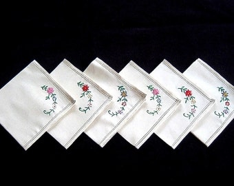 NAPKINS Replacement Napkin Set 6 Hand Embroidered Vintage NEW Unused Nosegay