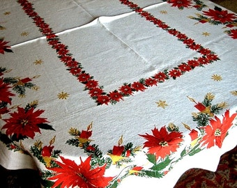 "CHRISTMAS Holiday Vintage Retro Print TABLECLOTH Poinsettia Candles 66"" LINEN"