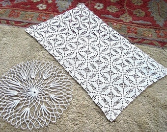 Table Runner Scarf Doily Pair Vintage Antique Off White Cotton Crocheted Lace