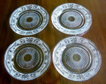 Vintage UNUSED NEW A++ Crystal Cut Glass Etched Fleur de Lis Plates Dinner Luncheon Dishes Set 4