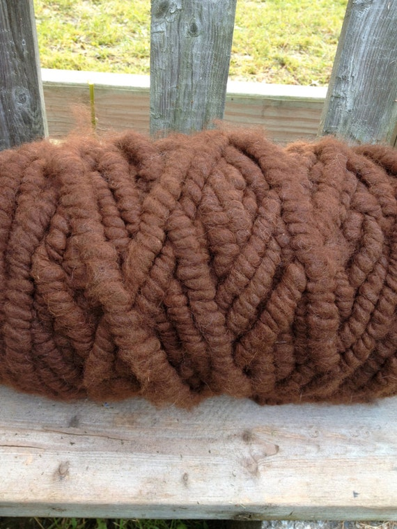 Brown Alpaca Rug Yarn Super Bulky Cotton Core From