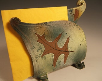 napkin holder letter holder,green leaf, stoneware with oak,ginkgo and silver maple leaf impressions