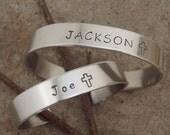 Boy's name bracelet - Boy's cross bracelet - Ring bearer bracelet - Bible Bearer gift - Aluminum Cuff - Photo NOT actual size