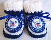 Handmade  knit United States Navy Military  baby  booties,crib shoes 0-12M