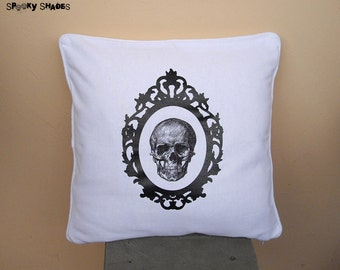 "Baroque Skull black & white 16"" x 16"" throw pillow cover - skull decor, gothic decor, anatomy, cameo, baroque frame, cushion, accent pillow"
