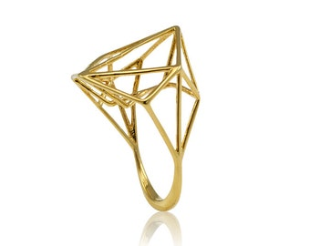 18K Geometric Gold Ring, unique engagemnt ring, Geometric Engagement Ring, Free Shipping, Best Seller