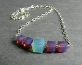 "Light Blue and Lavender Swarovski Crystal Bar Necklace, Cube Shaped Crystals, Silver Plated Chain, ""Distance"" Aqua & Lilac"