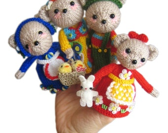 Family BEAR Finger Puppets PDF Email Knit PATTERN