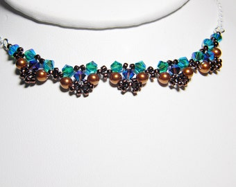 """Swarovski Crystal and Pearl Lace Peacock Colors Sterling Silver - """"Edwardian Lace - Plumage"""""""